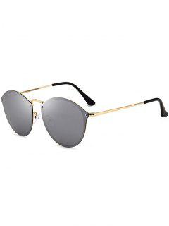 Anti UV Cat Eye Mirrored Sunglasses - Gold Frame + Silver Lens