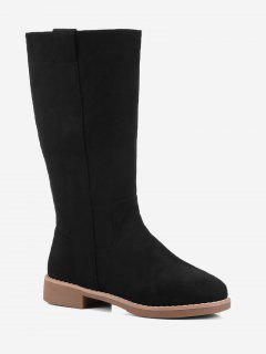 Low Heel Suede Slip On Mid Calf Boots - Black 39