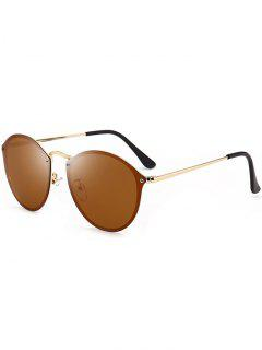 Anti UV Cat Eye Mirrored Sunglasses - Gold Frame+drak Brown