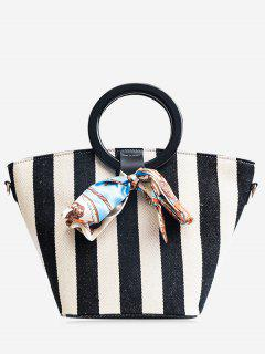 Color Block Scarf Striped Tote Bag - Black