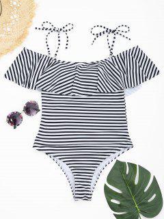 Ruffles High Cut Striped Swimwear - White And Black L