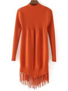 Tassels Mock Neck Pullover Sweater - Orangepink