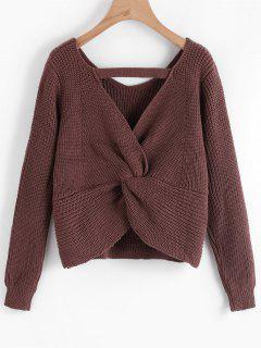 Cut Out Twisted Back Sweater - Chocolate