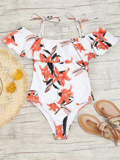 One Piece Ruffles Floral Cami Swimwear - White L
