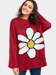 Big Flower Drop Shoulder Tunic Sweater - Burgundy