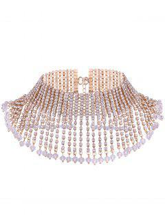 Rhinestone Alloy Fringed Chain Necklace - Golden