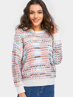 Pull Crochet Couleur Mixte à épaules Tombantes - Blanc