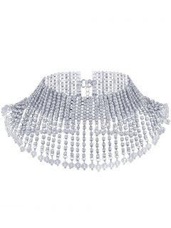 Rhinestone Alloy Fringed Chain Necklace - White