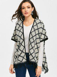 Tassels Geometric Open Front Cape Cardigan - White And Black