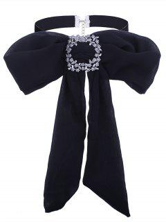 Rhinestoned Flower Bows Tie Velvet Choker Necklace - Black