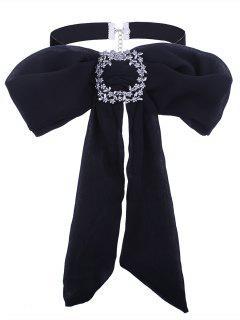 Rhinestoned Flower Bows Tie Velvet Choker Necklace - Black