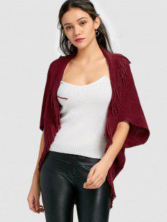 Open Front Cape Fringed Cardigan - Wine Red