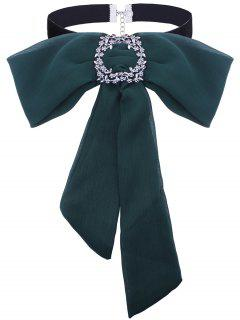 Rhinestoned Fleur Arcs Cravate Collier De Velours - Vert