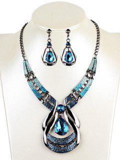Water Drop Shape Faux Sapphire Necklace Earrings Set - Blue