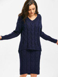 V Neck Cable Knit Sweater And Sheath Sweater Dress - Purplish Blue