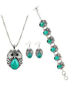 Vintage Owl Faux Gem Embellished Jewelry Set - Green