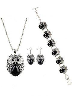 Vintage Owl Faux Gem Embellished Jewelry Set - Black