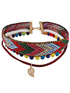 Ethnic Ball Braid Leaf Layered Choker Necklace - Red