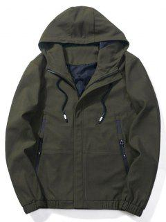 Zip-pockets Hooded Jacket - Army Green Xl