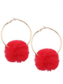 Alloy Fuzzy Ball Circle Hoop Drop Earrings - Red