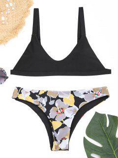 Padded Scoop Neck Floral Bikini Set - Black M