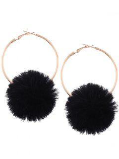 Alloy Fuzzy Ball Circle Hoop Drop Earrings - Black