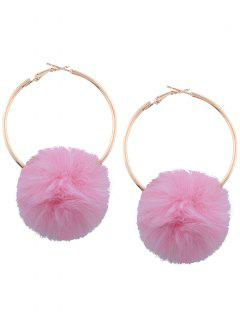 Alloy Fuzzy Ball Circle Hoop Drop Earrings - Pink