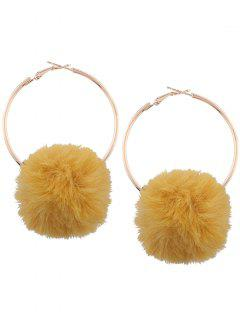 Alloy Fuzzy Ball Circle Hoop Drop Earrings - Yellow