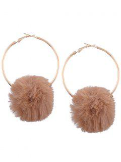Alloy Fuzzy Ball Circle Hoop Drop Earrings - Coffee