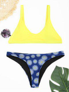 Padded Scoop Neck Daisy Print Bikini Set - Yellow M