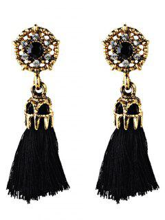Rhinestone Embellished Artificial Gem Tassel Drop Earrings - Black