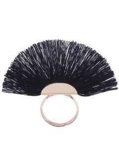 Alloy Fan-Shape Tassel Circle Ring - Black