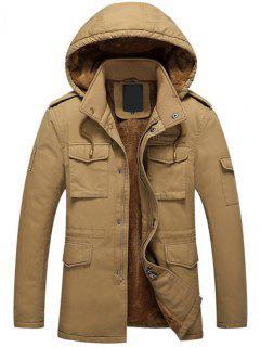 Hooded Flocking Zipper Jacket - Dark Khaki L