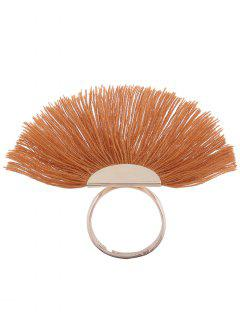 Alloy Fan-Shape Tassel Circle Ring - Earthy