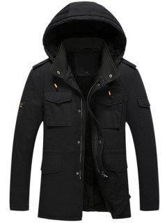 Hooded Flocking Zipper Jacket - Black Xl