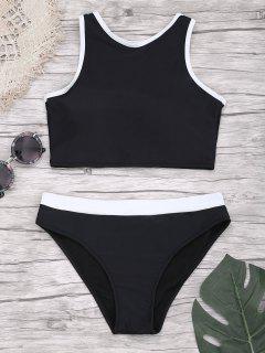 Padded Two Tone Sporty Bikini Set - Black S