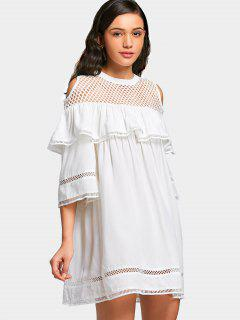 Fishnet Panel Cold Shoulder Flounce Mini Dress - White M
