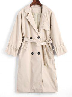 Button Up Belted Lapel Trench Coat - Light Khaki S