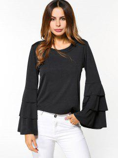 Layered Flare Sleeve Top - Black S