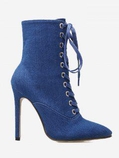 Tie Up Pointed Toe High Heel Denim Boots - Deep Blue 39