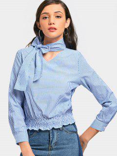 Bowknot Choker Striped Blouse - Blue L