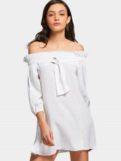 Mini Vestido Con Abertura Lateral En El Hombro - Blanco 2xl