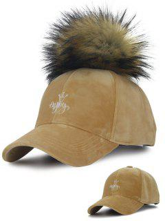 Detachable Fuzzy Ball Embroidery Crown Velvet Baseball Hat - Camel