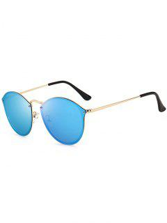 Anti UV Cat Eye Mirrored Sunglasses - Golden+ice Blue