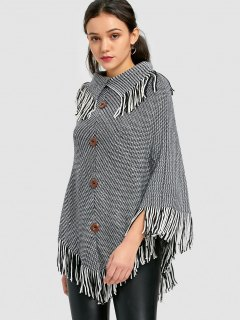 Fringed Heathered Cape Sweater - White And Black