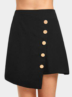 High Waist Button Up Asymmetric Skirt - Black L
