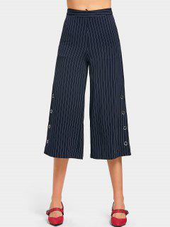 High Waist Striped Wide Leg Capri Pants - Purplish Blue L