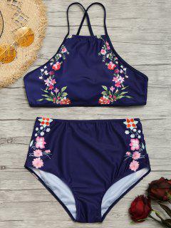 Bikini Fleuri à Col Haut à Taille Haute - Bleu Foncé Xl