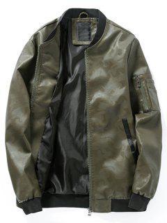 Chaqueta De Bombardero De Cuero PU De Camuflaje De Cuello Alto - Verde Del Ejército 4xl