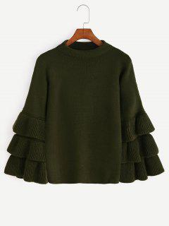 Flouncy Layered Sleeve Pullover Sweater - Army Green